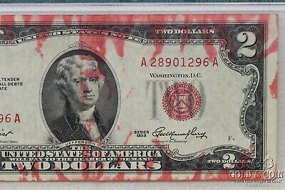 1953 $2 US Note FR-1509 Red Ink Smear PMG 40 EF Net US Currency Bill 18955