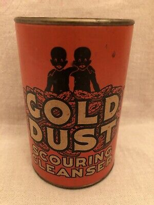 Vintage Gold Dust Black Americana Advertising Scouring Cleanser Powder Tin Can