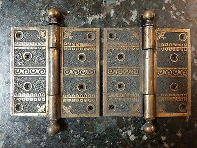 "Antique Victorian Eastlake Door Hinge Pair Set Large 5"" Nimick Brittan 1883"