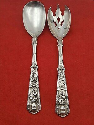Sterling Salad Set with Egyptian King Pharaoah Face and Leaf Design  9980
