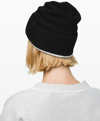 LULULEMON Knit Me Up Beanie Reversible Womens Black/Gray One Size NEW w/Tag $58