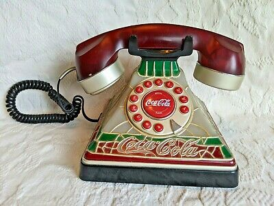 Vintage 2001 Coca-Cola Stained Glass Look-Push Button Old Fashioned Telephone