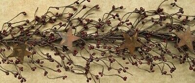 5 FT Pip Berry Garland with Rusty Stars, New Country/Primitive Home Decor