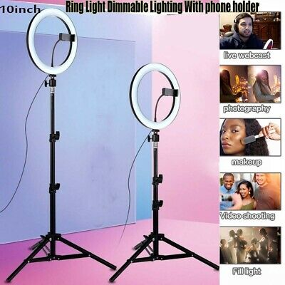 10'' Dimmable Ring Light 120 LED Diffuser Stand Video Phone Makeup Youtube Video