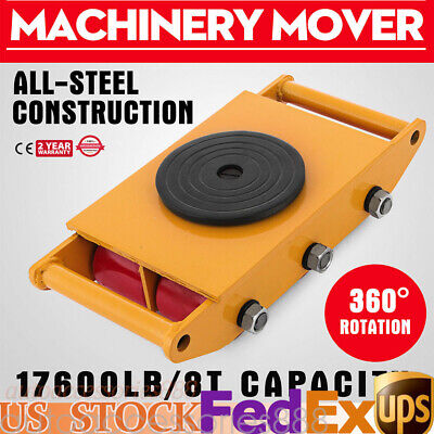 8Ton Machinery Roller Mover Cargo Trolley Heavy Duty Machine Dolly Skate 17600lb