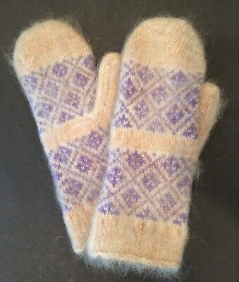 Women's Knitted Sheep wool Mohair mittens thick warm Beige Purple M Russia