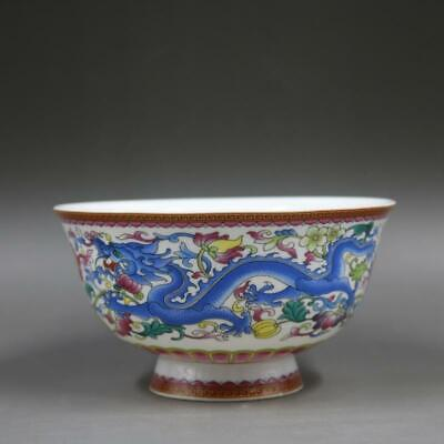 Collect Chinese Qing Dynasty Qianlong Famille Rose Porcelain Dragon Phoenix Bowl