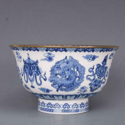 Chinese Qing Dynasty Qianlong Porcelain Blue and White 8 Auspicious Symbol Bowl