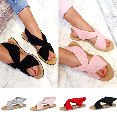 Womens Ladies Flat Summer Holiday Beach Ankle Strap Peep Toe Sandals Shoes Size