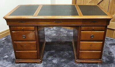 Partners Desk - Mahogany with black leather top