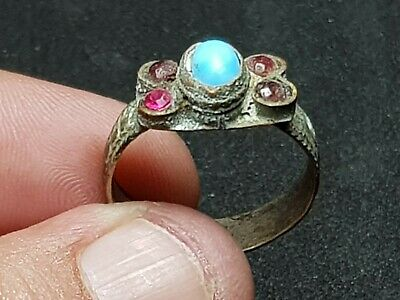 Ancient Bronze  Roman Ring With Vintage Replaced Stones In  4 Gr 21 Mm In