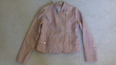 Girls Mayoral pale pink faux leather biker jacket Age 14