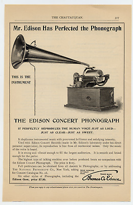 ca 1900 Edison Concert Phonograph ad, price $7.50 National Phonograph Co, NY