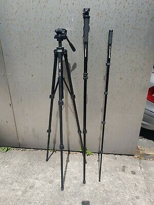 professional camera tripod stand holder   and two monopods manfrotto