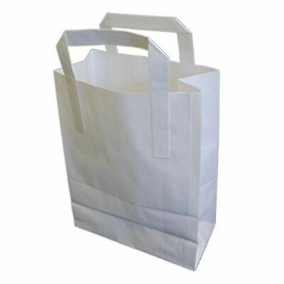 250 Large SOS White Paper Carrier Kraft Bags with Handles Party Takeaway Food