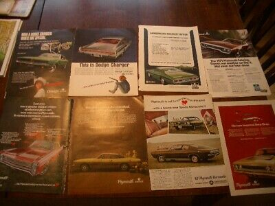 American Muscle Car Ad Lot (8) Print Ads - Fury, Charger, Barracuda, Road Runner