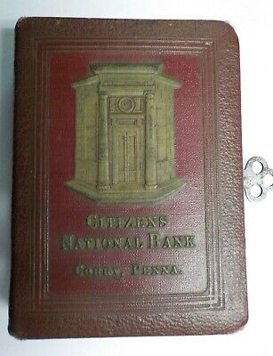 Vintage Citizen's National Bank Corry, PA. Red Leather Book Bank