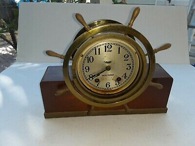 Seth Thomas Ships Wheel Clock Mayflower 3 Wood Base Chime Key Restore Works