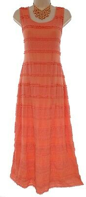 Size Large SEXY Womens CORAL LACE TIERED MAXI DRESS Spring Summer Wedding Party