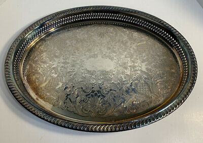 "Vintage WM Rogers Oval Silverplate Reticulated Gallery Tray 16""X11.75""Beautiful"