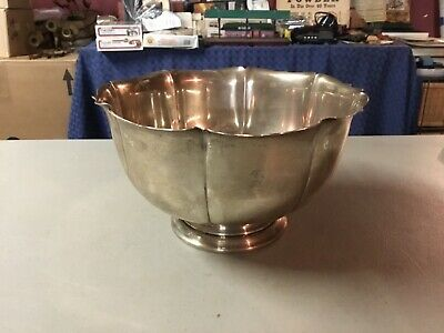 Antique Large Footed Sterling Silver Bowl Marked IRISH STERLING, 588 Grams