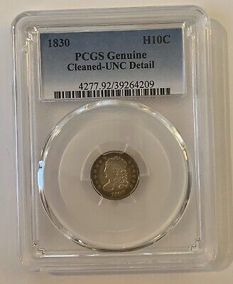 1830 Capped Bust Half Dime H10C PCGS Genuine, Cleaned-UNC Detail, Rainbow Toning