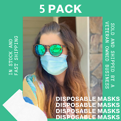 5 PCS Face Mask Medical Surgical Dental Disposable 3-Ply Earloop Mouth Cover