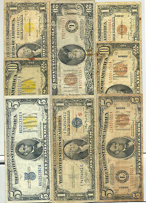 $1-$10 North Africa, $1-$20 Hawaii issue, $1 S Experimental Silver Certificate
