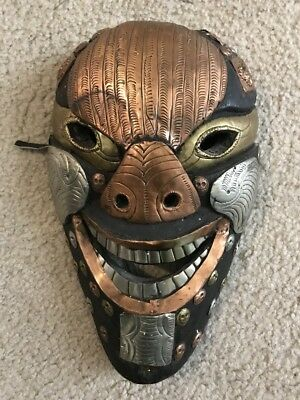 Nepal - Ethnographic Fierce Ornate Wood & Metal Nepalese Mask
