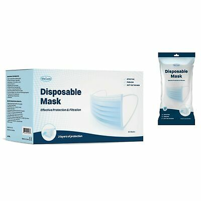 WeCare Disposable Face Mask, 3-Ply with Ear Loop - White/Blue