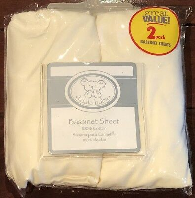 2 Pack Koala Baby Bassinet Sheets in 220 TC Thread Count 100% Cotton Fit 16 x 30
