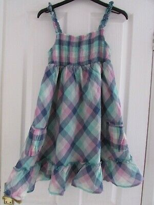 girls pretty blue/pink checked dress from M&S age 11yrs