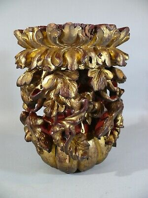 19thC Antique Asian Deep Carved Gold Red Giltwood Column Top Rats and Leaves
