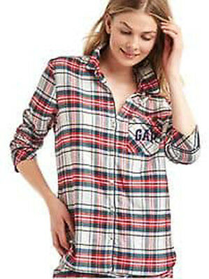 NEW Gap Pendleton Womens Soft Cotton Flannel Plaid Pajama PJs Button Top S 4 M 8