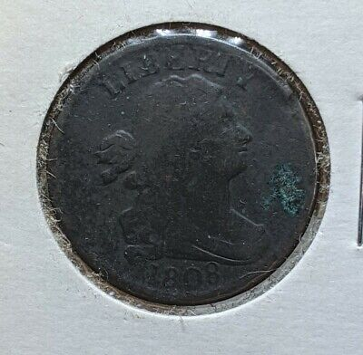 Scarce Genuine Early 1808 C-3 R-1 Variety Draped Bust US Copper 1/2 Half Cent