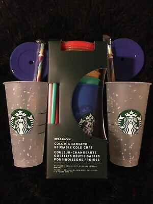 Summer Starbucks 2x Confetti Frosted Cold Cup and 5 set color changing cups