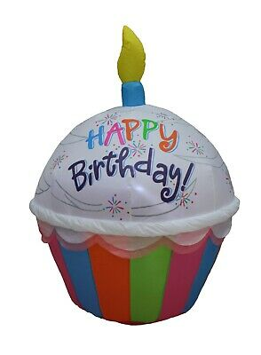 4 FOOT INFLATABLE HAPPY BIRTHDAY CUPCAKE CANDLE Party Outdoor Lawn Decoration