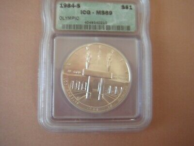 1984-S Olympic Silver Dollar Graded  ICG MS69