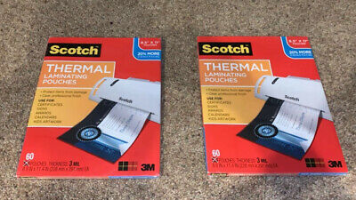 (2) 3M Scotch Thermal Laminating Pouches, Letter Size 60 Per Pack