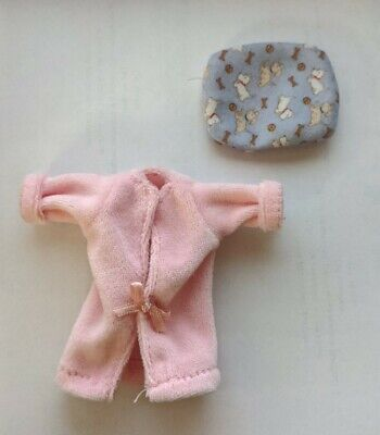 Barbie Doll Accessories Pink jacket or bathrobe and dog bed lot