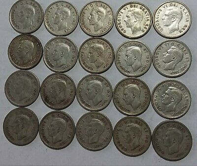 Lot of 20 Canadian Silver Dimes King George 1950's 80% Silver