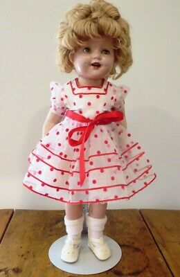 "Shirley Temple Doll Composition 22"" 1930s Sleep Eyes Curly Top Ideal Vintage"