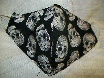 Face Mask Double Sided, SKULL ASSORTMENT 10'' L x 5'' nose to chin