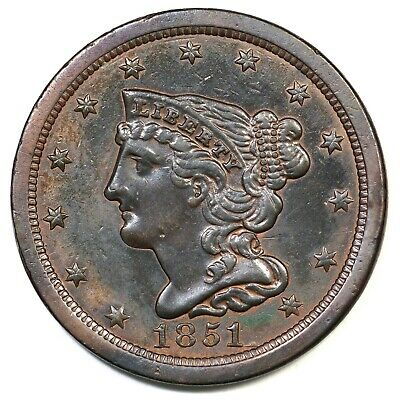 1851 Braided Hair Half Cent Coin 1/2c