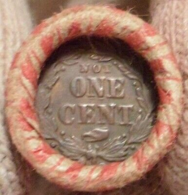 Old Civil War Token is on the end of a 50-coin Mixed Indian / Wheat Cent Roll 22