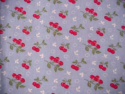 "Vintage Large SUMMER CHERRIES Printed Tablecloth Sky Blue 60"" X 98"" SWEET Fabric"