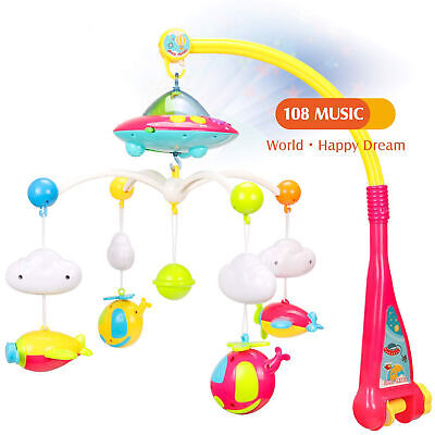 Baby Musical Crib Mobile Bed Bell Rattle Toy Light Flash Music Box 108 Melodies