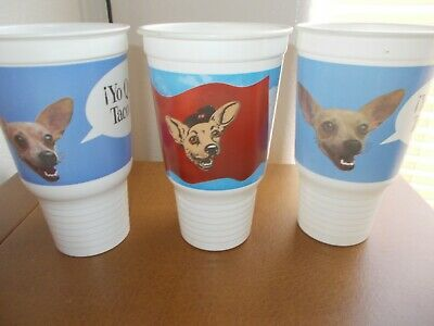 Taco Bell Yo Quiero Taco Bell Chihuahua  3 Plastic Cups Very Nice Condition