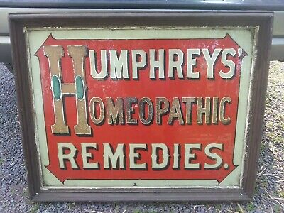 Antique Sign. Reverse Painted Glass. HUMPHREYS HOMEOPATHIC REMEDIES. Early 1900s