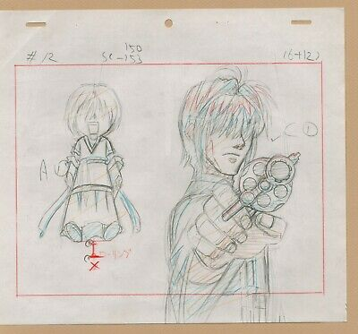 Saiyuki anime Production Drawing Sketch Set #C cel - rockin' details!